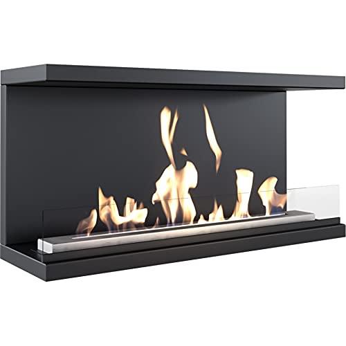 Kratki Camino bioetanolo X-Ray, caminetto a muro a vero fuoco con lastra di vetro, dimensioni in cm...