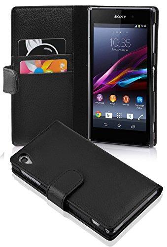 Cadorabo Hülle für Sony Xperia Z1 in Oxid SCHWARZ – Handyhülle aus Strukturiertem Kunstleder mit Standfunktion & Kartenfach – Hülle Cover Schutzhülle Etui Tasche Book Klapp Style