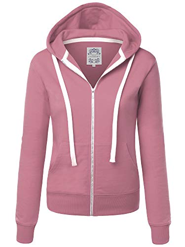 Made By Johnny MBJ WSK954 Womens Active Fleece Zip Up Hoodie Sweater Jacket XL DUST_Pink