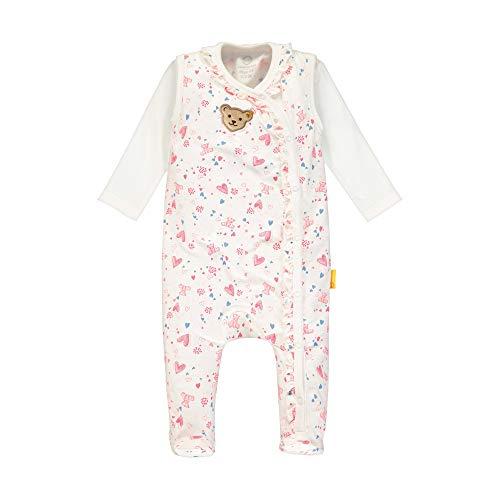 Steiff Baby-Mädchen mit Rüschen und Teddybärprint Bekleidungsset, Beige (Cloud Dancer 1001), 80 (Herstellergröße: 080)