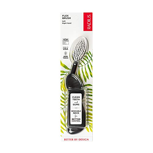 RADIUS Flex Brush with Soft Bristles Toothbrush BPA Free & ADA Accepted Designed to Improve Gum Health & Reduce Issues - Right Hand - Black/White - Pack of 1