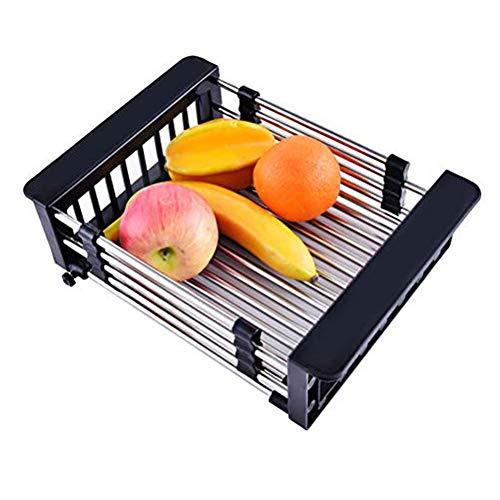 Kitchen Sink Drain Rack Retractable 304 Edelstahl-Pool-Ablaufkorb Abtropfbrett zum Waschen von Obst und Gemüse,Black,Schwarz
