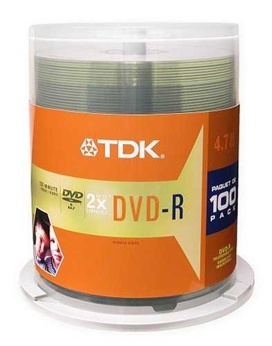 TDK DVD-R Discs, 4.7GB, 16x, Spindle, 100/Pack