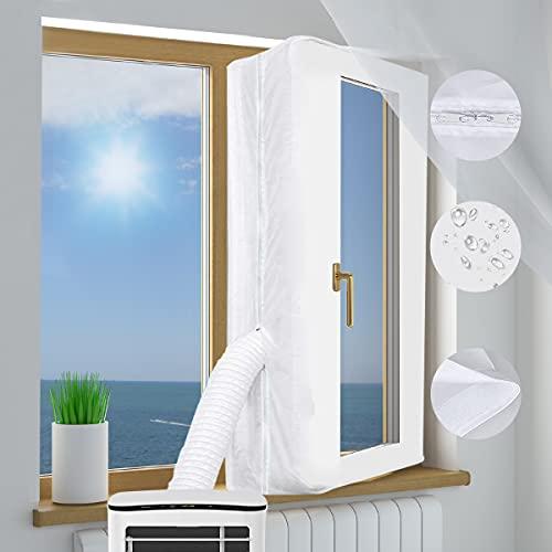 Fensterdichtung für Mobile Klimaanlagene Klimagerät Fensterabdichtung Dachfenster 400cm, Air Stop zum Anbringen an Fenster, Universal-Fensterdichtung für Klimaanlagen Wäschetrockner und Ablufttrockner