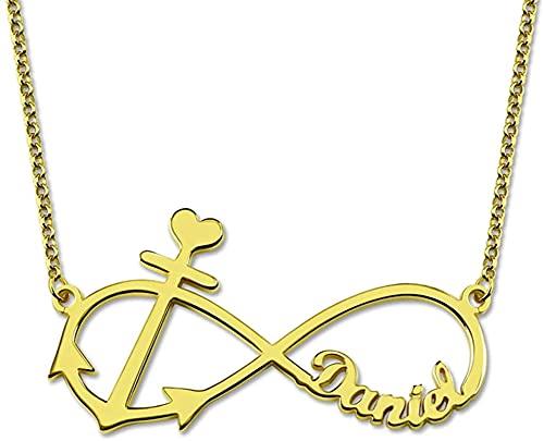 Colgante con iniciales de monograma de plata de ley 925 de Lakabara grabado cualquiera de los 4 collares de apellido: un regalo para la madre oro 18.0