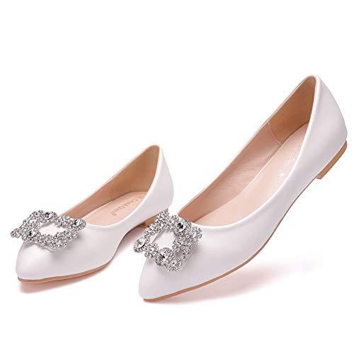 Zapatos De Novia De Mujer, Zapatillas De Ballet Puntiagudas Con Hebilla Cuadrada...
