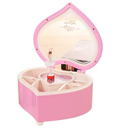 AOI Caja de música para joyería - Caja de joyería Musical Regalos para niñas, Navidad/Cumpleaños/Día de San Valentín 15 * 15 * 6,3 cm (Rosa)