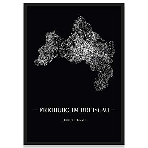 JUNIWORDS Stadtposter, Freiburg im Breisgau, Wähle eine Größe, 40 x 60 cm, Poster mit Rahmen, Schrift A, Schwarz