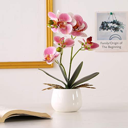 ENCOFT Kunstblumen orchideen Kunstpflanze Künstliche Blumen aus Eva Keramik Wohndeko Kunstbulme mit Übertopf Garten Balkon Wohnzimmer Hochzeit (Pink, 40cm)