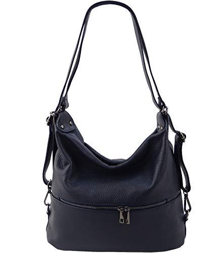 Freyday 2in1 Rucksackhandtasche Designer Damen Handtasche Henkeltasche 100% Echtleder (Dunkelblau)