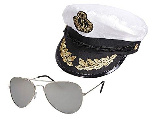 Alsino Kapitänsmütze mit Pilotenbrille Seemann Set (Kv-11) Matrosenmütze Segler Hut Seemann-Kostüm Fischer Outfit
