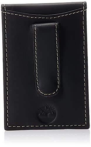 Timberland Men's Minimalist Front Pocket Slim Money Clip Wallet, Black, One Size