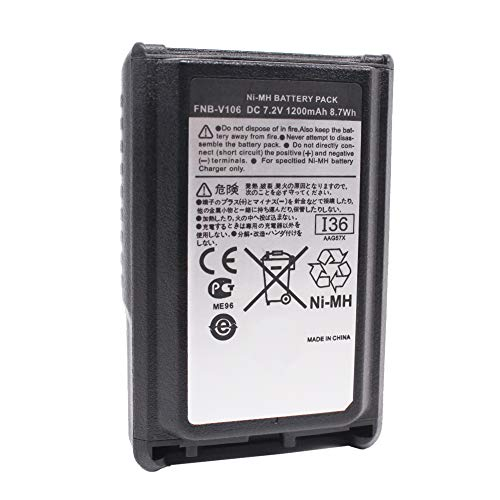 FNB-V106 1200mAh 7.2V Replacement Ni-Mh Battery Pack Compatible for Yaesu Vertex Standard VX-230 VX-231 VX-231L VX228, Two Way Radio Rechargeable Battery Pack