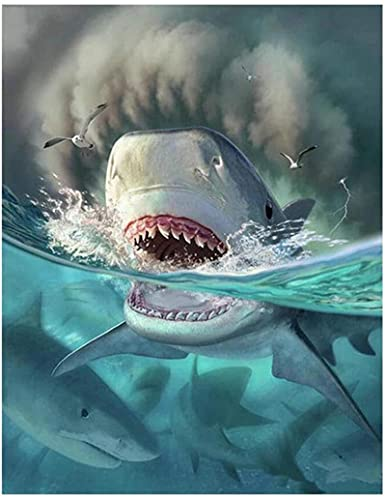 HJHJHJ Rompecabezas 1000 Piezas para Adultos tiburón con Dientes enormes Rompecabezas conmemorativo 38x26cm