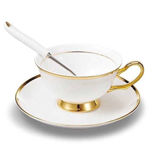 Panbado Set di Tazza e Piattino Bone China Tazzine da caffè Tazze da tè Servizi da caffè Mugs in Porcellana Coffee Cup, Set 1 Pezzi 1 Tazza, 1 Piattino, 1 Cucchiao, 200ml, Bianca Crema e Oro