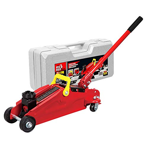 BIG RED T82012 Torin Hydraulic Trolley Floor Service/Floor with Blow Mold Carrying Storage Case, 2 Ton (4,000 lb) Capacity, Red