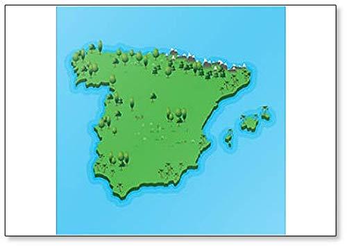 Spanje Kaart met Geografisch Landschap Classic Koelkast Magneet