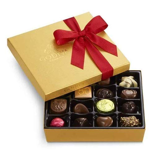 valentines chocolates Godiva Chocolatier Assorted Chocolate Gold Gift Box, Valentine's Day Ribbon, 19 pc.