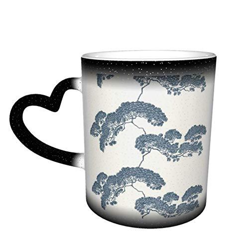 Taza de café mágica cambiante, diseño de árbol bonsái japonés, personalizable, de cerámica, sensible al calor, taza de café, taza de leche y regalo de cumpleaños