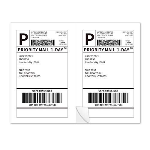 KKBESTPACK Half Sheet Shipping Labels for Laser and Inkjet Printers – 2 Per Page Self Adhesive Mailing Labels for Packages – White 8.5 x 5.5 Postage Labels for Shipping Boxes (200 Labels) (2LP)