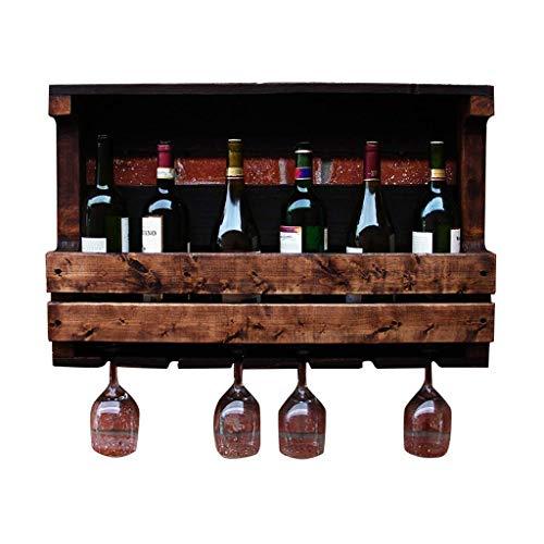 Colgador de Vino de Madera Maciza Estante para Botellas montado en la Pared con Soporte para Botellas Estante de Soporte para Bar/Cocina/Restaurante toallero