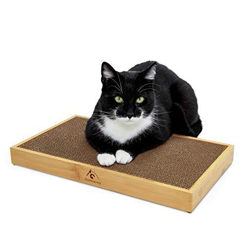 Pfotenolymp® Kratzbrett mit Bambus Rahmen/Kratzmatte für Katzen – Kratzpappe/Katzenkratzbrett – Mit Wellpappe & Katzenminze - Pappkratzbrett … (Bambusrahmen mit Kratzbrett)