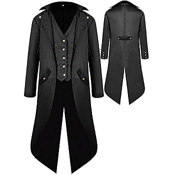 Mens Gothic Medieval Tailcoat Jacket Steampunk Vintage Victorian Frock High Collar Coat Halloween Costumes  XXXXL Black