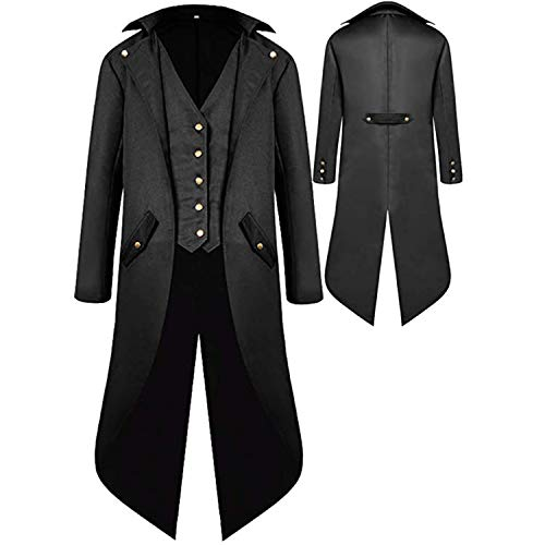Mens Gothic Medieval Tailcoat Jacket, Steampunk Vintage Victorian Frock High Collar Coat