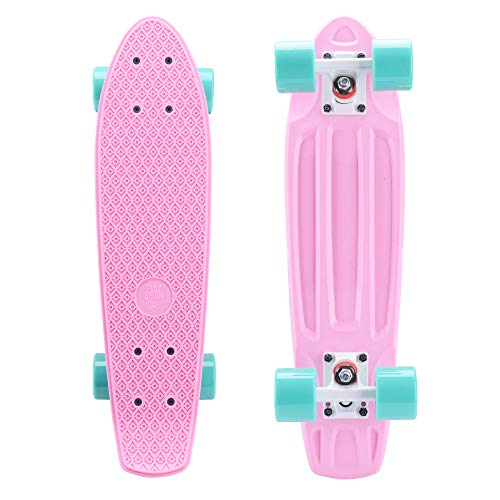 Playshion Complete 22 Inch Mini Cruiser Skateboard for Beginner with Sturdy Deck Pink