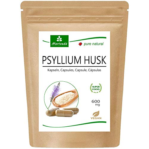 MoriVeda® Cápsulas de Cáscara de Psyllium I Paquete Mensual I Digestión, Desintoxicación, Salud Intestinal I 120 Cápsulas