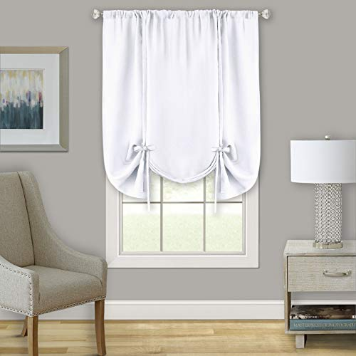 GoodGram Shabby Linen Farmhouse Semi Sheer Flax Curtain Tie Up Window Shade - Assorted Colors (White)