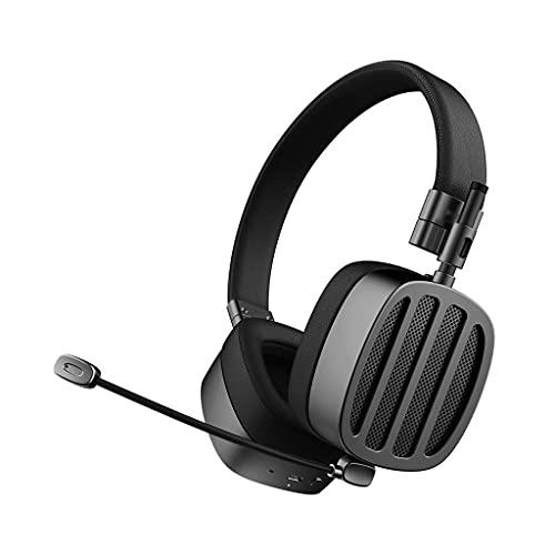 Kopfhörer Bluetooth-Kopfhörer Geräuschende Kündigung faltbar über Ohrkopfhörer mit mic drahtlosen kabelgebundenen Modus Gaming (Color : Black)