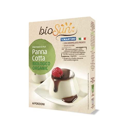 BIOSUN - Panna Cotta Biologica, Preparato per Panna Cotta, Confezione da 95g, 6 porzioni, con 1 Bustina di Caramello Pronto per Guarnire i Dolci, Senza Glutine, Vegana, Bio, Made in Italy