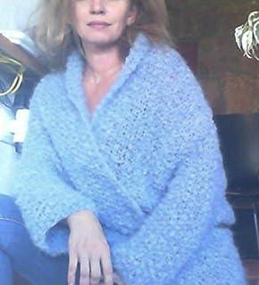 Cardigan, chaqueta o abrigo, tipo kimono, para primavera- otoño, de 70% de lana y mohair, muy abrigado, de color azul-gris...