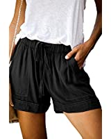 Mosucoirl Women Comfy Drawstring Casual Elastic Waist Pure Color Shorts Summer Beach Lightweight Short Pants with Pockets(A Black,Small)
