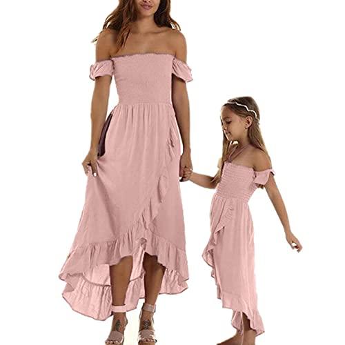 Loalirando Madre e hija vestidos largos elegantes vestidos de verano sin tirantes vestido de princesa para niña o mujer elegantes Rosa 5-6 Años