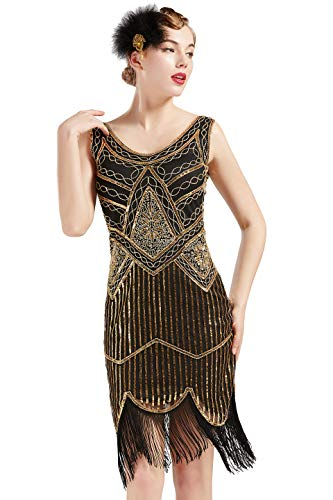 ArtiDeco Damen Pailletten 1920s Kleid Flapper Charleston Kleid V Ausschnitt Great Gatsby Motto Party Damen Fasching Kostüm Kleid (Gold Schwarz, XL)