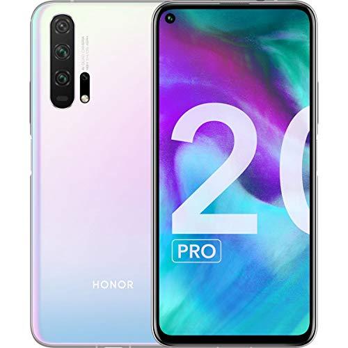 "Honor 20 Pro Smartphone, 8 GB RAM, Memoria 256 GB, Display 6.26"" FHD+, CPU Kirin 980, Quadrupla Fotocamera 48+16+8+2 MP, Bianco [Italia]"
