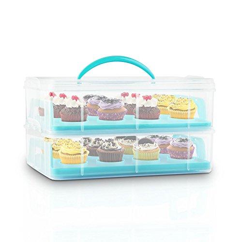 Klarstein USS Blue Cookie Kuchentransportbehälter tragbarer Tortenbuttler Kuchenbehälter für Mini-Kuchen, Torten, Muffins, Cookies und andere Lebensmittel (2 Etagen-Transportbox, 2 Einleger) blau