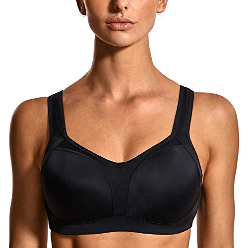 SYROKAN Women's High Impact Firm Support Contour Padded Underwire Adjustable Sports Bra Black 40F