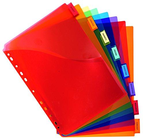 Exacompta 4854E - Separadores con funda de polipropileno, 8 posiciones, A4 maxi, varios colores
