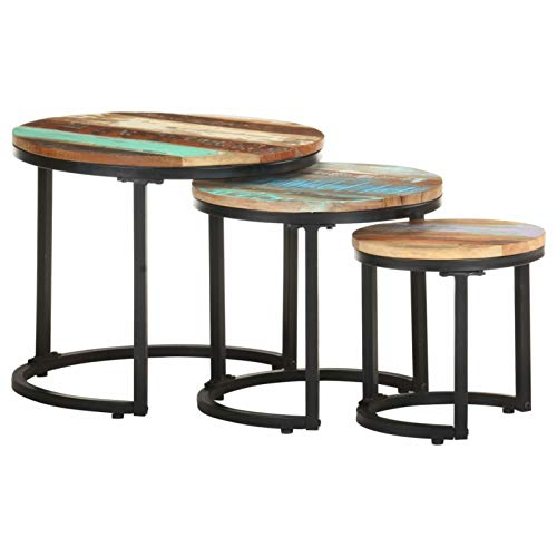 Tidyard 3er Set Couchtisch Satztische Satztisch-Set Beistelltisch in Massivem Recyceholz, Wohnzimmertisch Tischset Tisch Runder Seitentisch Sofatisch Kaffeetisch Tisch-Set Verschiedenen Größen