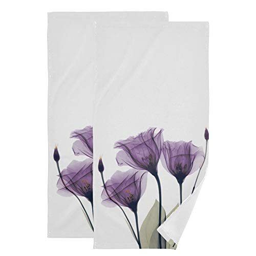 Lavender Face Towel Set of 2, Iris Purple Hope Flowers Hand Towel Dish Towels Cotton Bath Decor Set for Kids 30x15 inch Gym Yoga Towels for White Elephant Gift