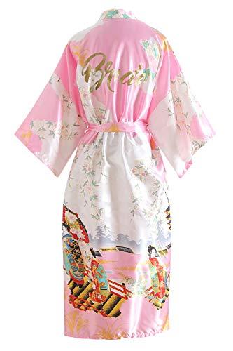 YAOMEI Novia Mujer Vestido Kimono Satén, Camisón para Mujer, Sedoso Flores de Geisha Robe Albornoz Dama de Honor Ropa de Dormir Pijama, S-2XL (Busto: 126cm, de S a 2XL, Pink Bride)