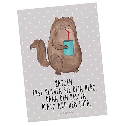 Mr. & Mrs. Panda Karte, Grußkarte, Postkarte Katze Dose mit Spruch - Farbe Grau Pastell