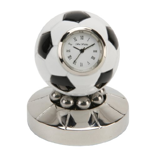 zwart en wit voetbal miniatuur klok