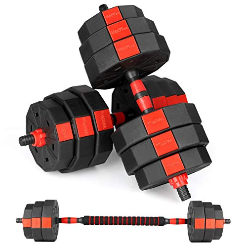 Bronze Times Fitness Dumbbells Set Adjustable Weight to 44Lbs Home Fitness Equipment for Men and Women Gym Work Out Exercise Training with Connecting Rod Used as Barbells Pair