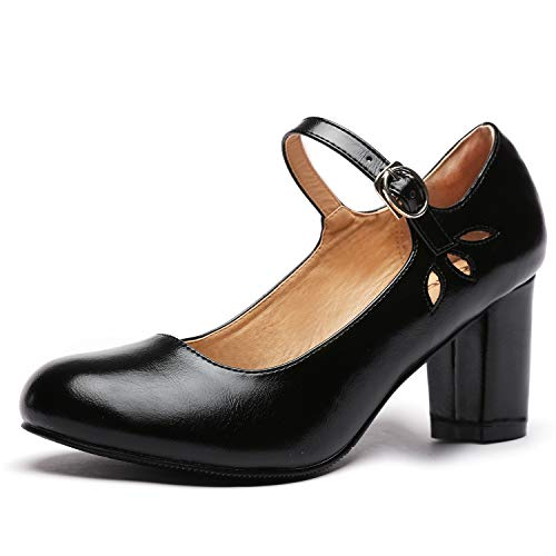 Odema Women's Mary Jane Oxfords Pumps Chunky Mid Heel Ankle Strap Shoes Black