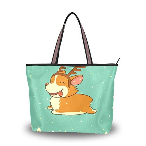 WowPrint Süße Tier-Hunde-Tasche, Handtasche, große Kapazität, Schultertasche für Schule, Arbeit, Reisen, Einkaufen, Strand