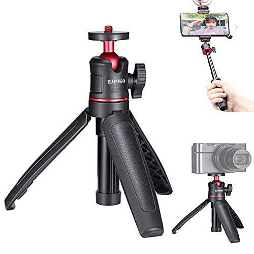 WEWOGA MT-08 Mini Trípode de Escritorio Vlog Extension Selfie Stick Empuñadura de Mano con Rótula Flexible de 360° Montaje con 1/4' Compatible con Cámara de Teléfono Inteligente (Soporte 1,5 kg)